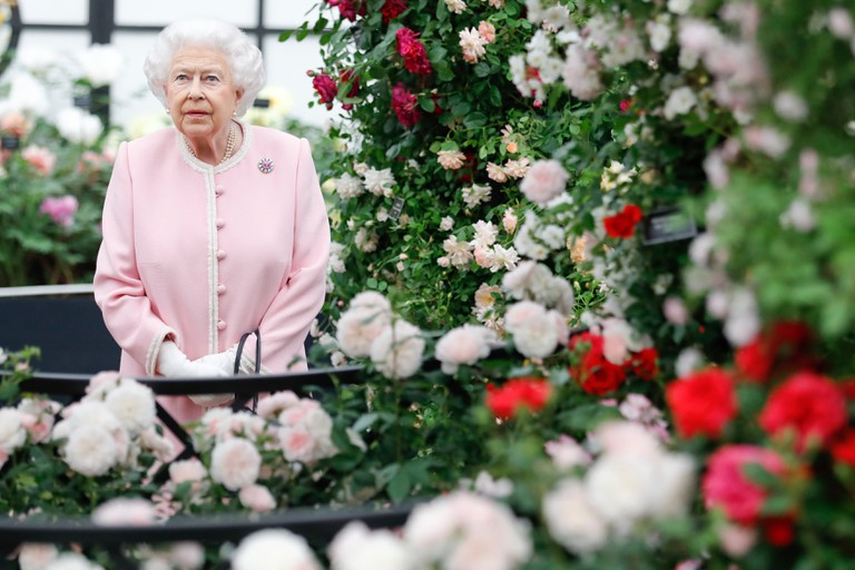 Britain's Queen Elizabeth views the Peter Beales Roses exhibition at the RHS Chelsea Flower Show 2018 in London Monday, May 21, 2018..RHS / Luke MacGregor