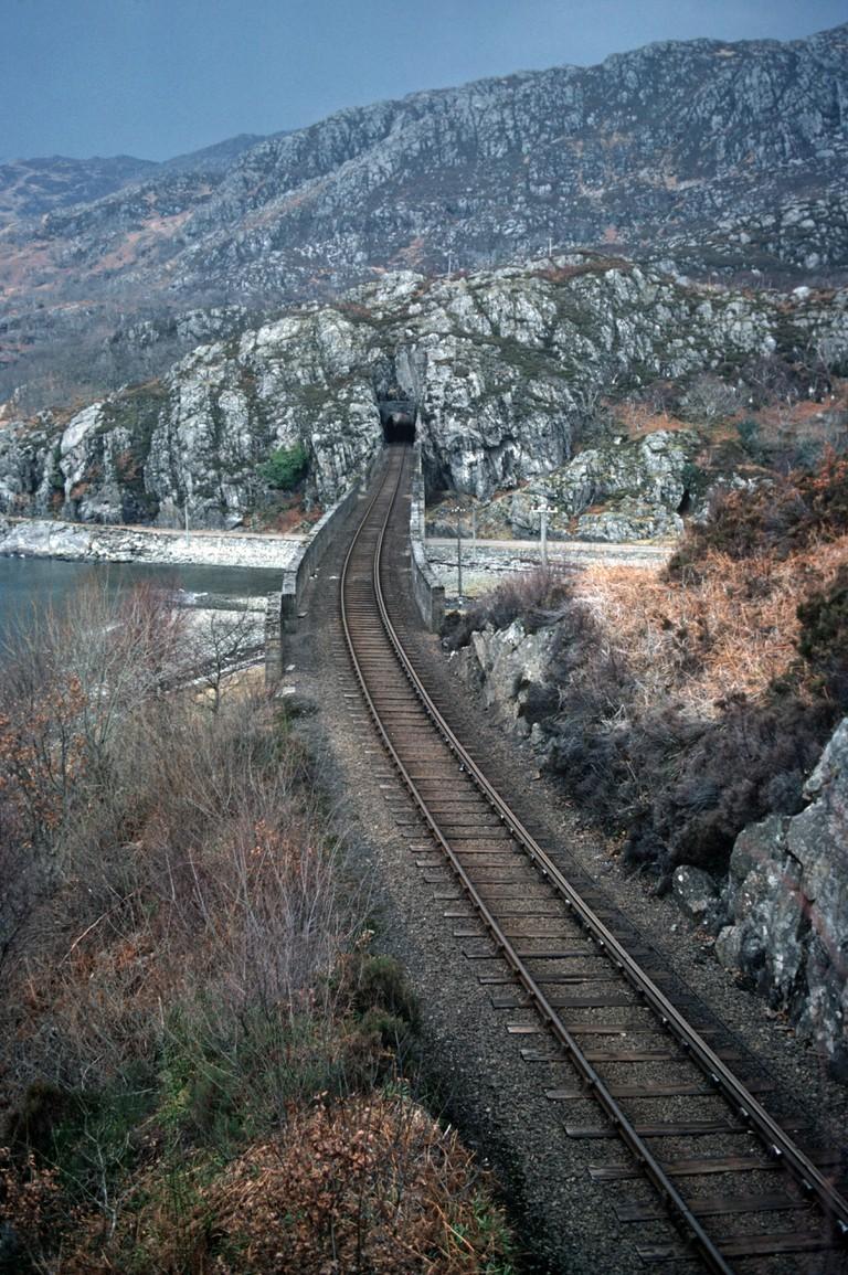 West Highland Line at Loch Nan Uamh viaduct, Ardnish Peninsula, Scotland.