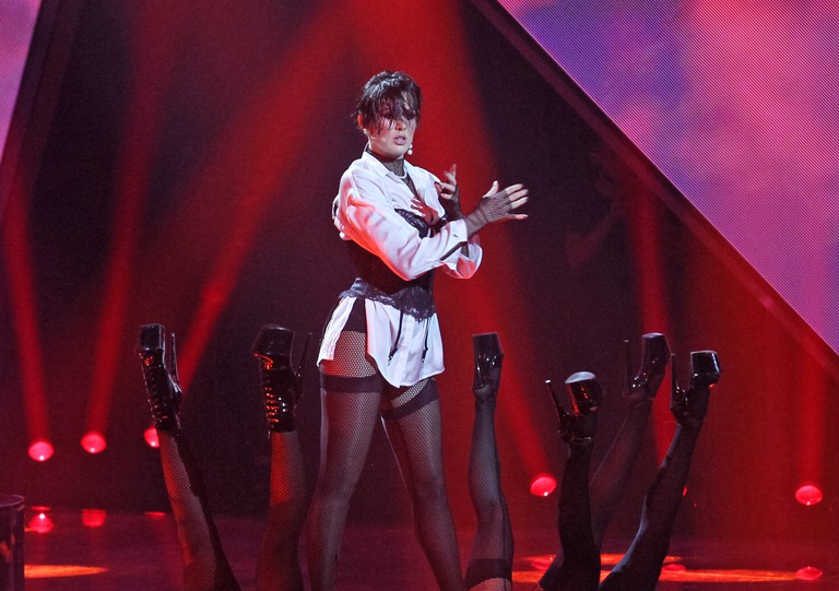 Ukrainian singer Maruv performing during the 2019 Eurovision Song Contest, Kiev, Ukraine
