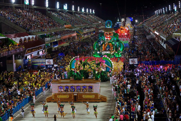 Members of the samba school of the Grupo Especial Especial Mocidade Independente de Padre Miguel take part in the traditional carnival parade at Marques de Sapucai sambadrome.