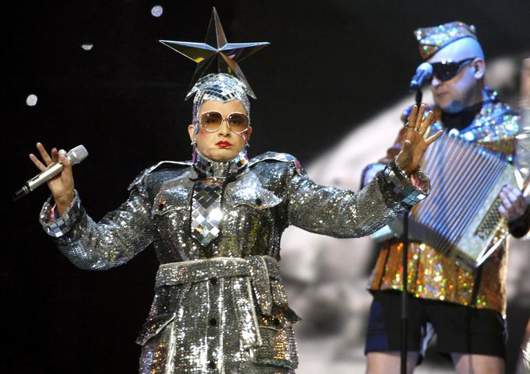 Verka Serduchka performing at the Eurovision Song Contest in Helsinki, Finland