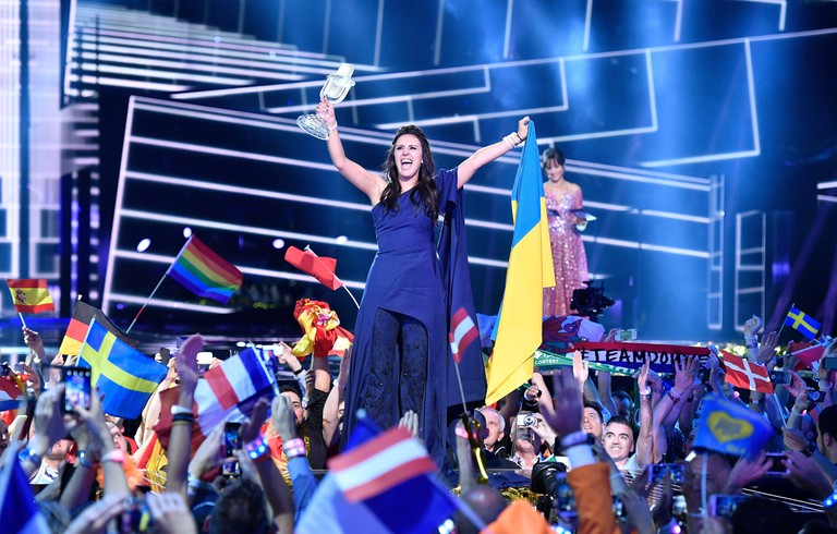 Jamala celebrates winning the Eurovision Song Contest final in Stockholm, Sweden