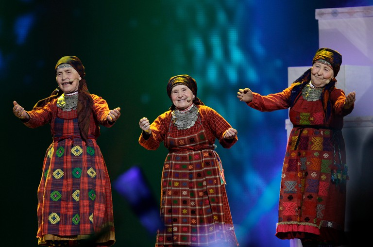 Buranovskiye Babushki perform at the 2012 Eurovision Song Contest in Baku