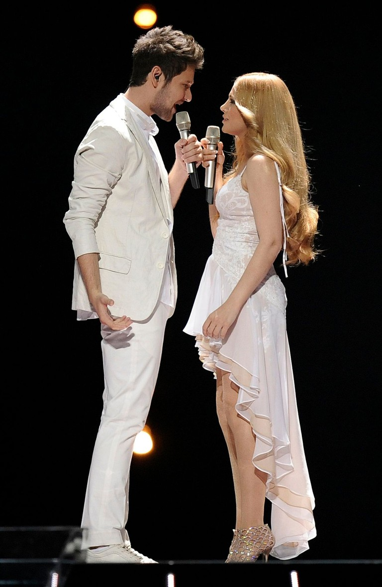 Ell & Nikki perform in the Eurovision Song Contest in Düsseldorf, Germany