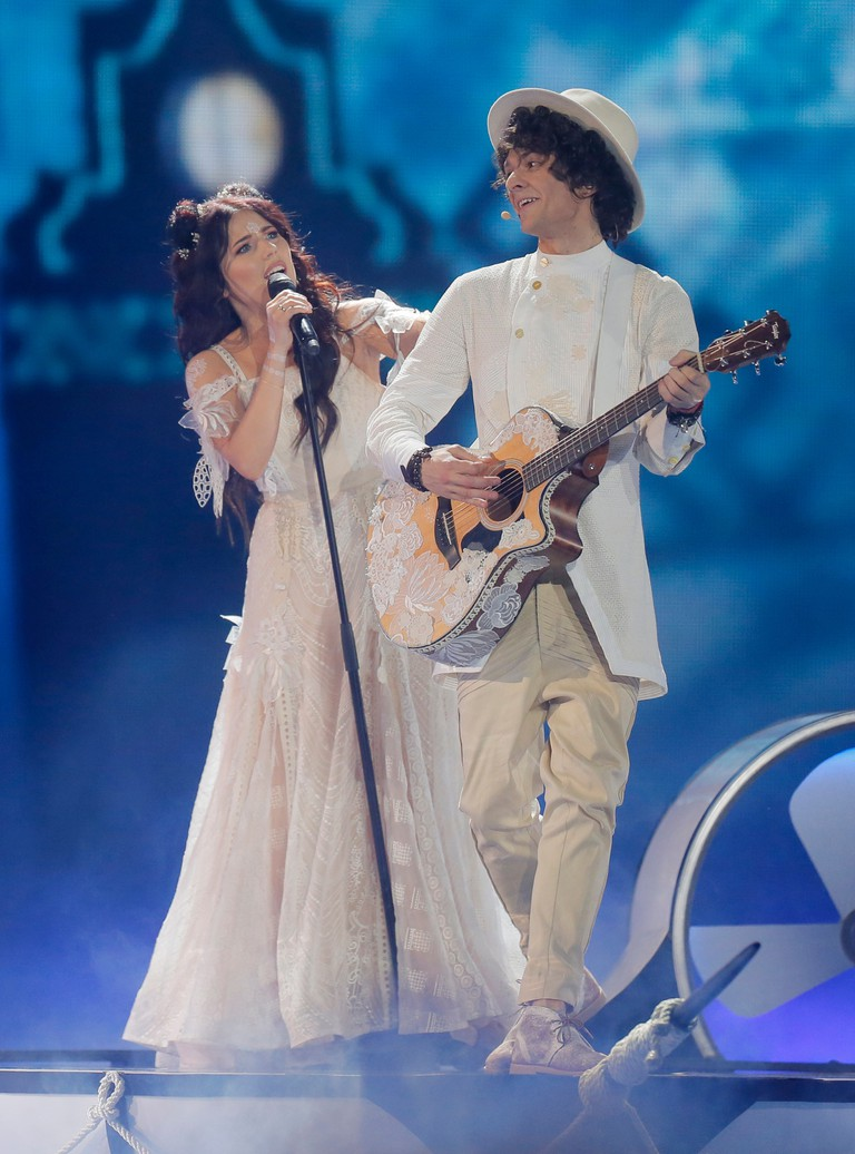 Naviband perform in the Eurovision Song Contest in Kiev, Ukraine