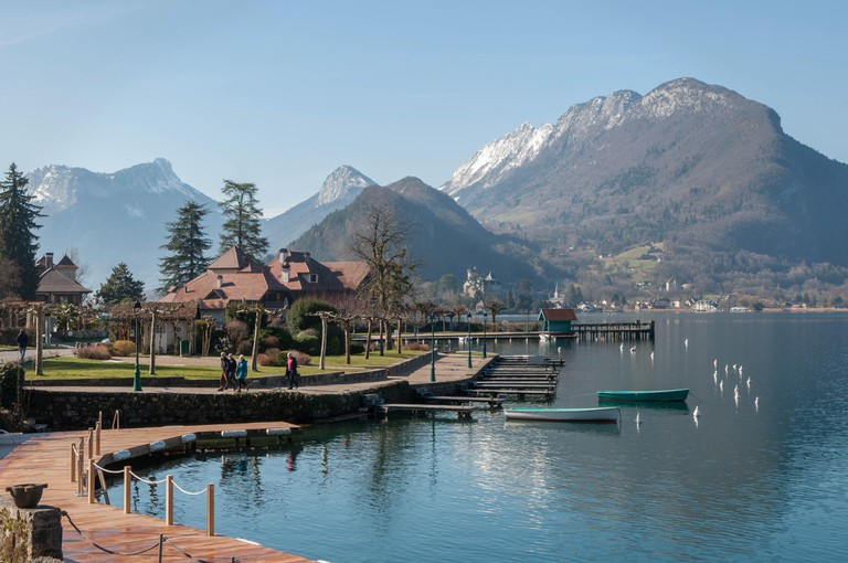 View of Lake Annecy from Abbaye de Talloires in France