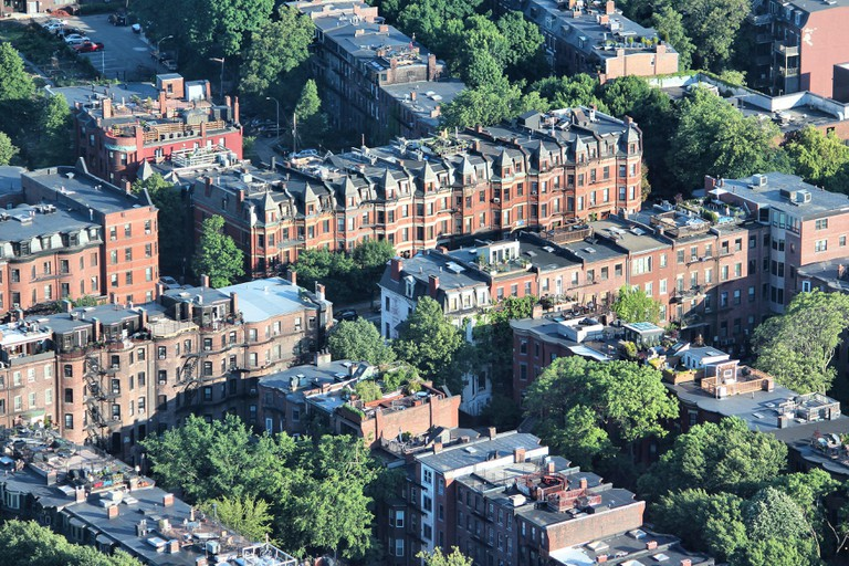 Apartment buildings aerial view in Roxbury district.
