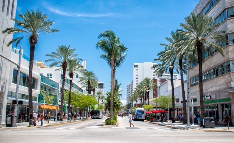 Lincoln Road Mall, a mile long promenade boasts a happening street scene with abundant shopping & dining options that attract throngs of local and out-of-town visitors