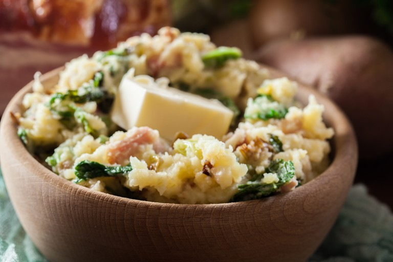 Colcannon, traditional Irish dish with mashed potatoes, bacon and cabbage