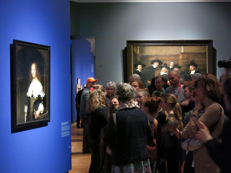 Visitors flock to see all Rembrandt's masterpieces at the Rijksmuseum, Amsterdam in an exhibition to mark the 350th anniversary of his death; 2019