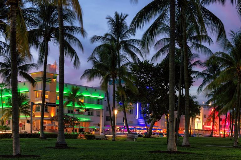 Miami Beach at night, Ocean Drive, Florida.