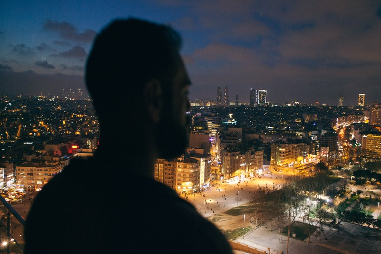 Syrian LGBTQ refugee know as 'F' overlooking Taksim Square, Istanbul