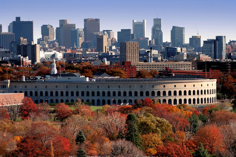 View of Soldier's Field at Harvard University and downtown Boston skyline in Autumn