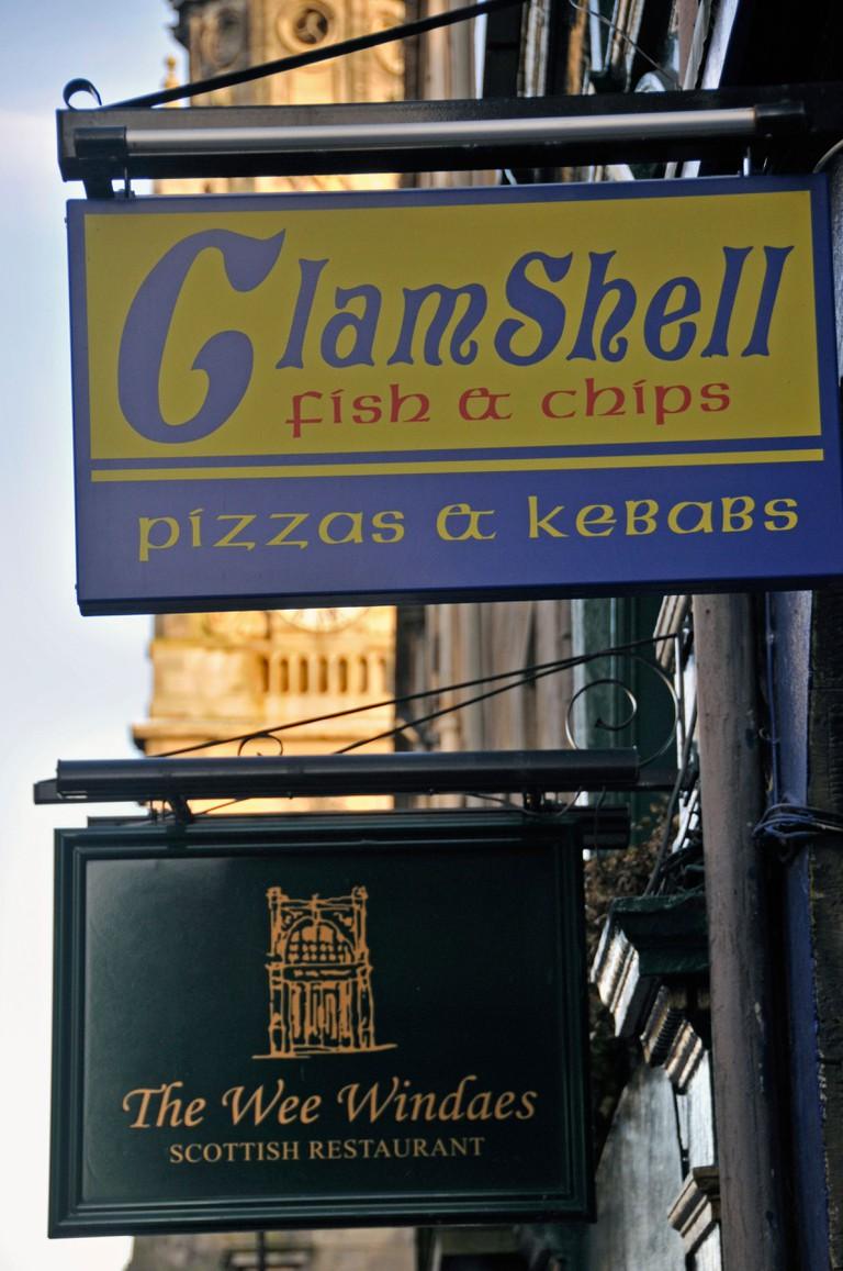 Clamshell Fish and Chips shop, Royal Mile, Edinburgh.