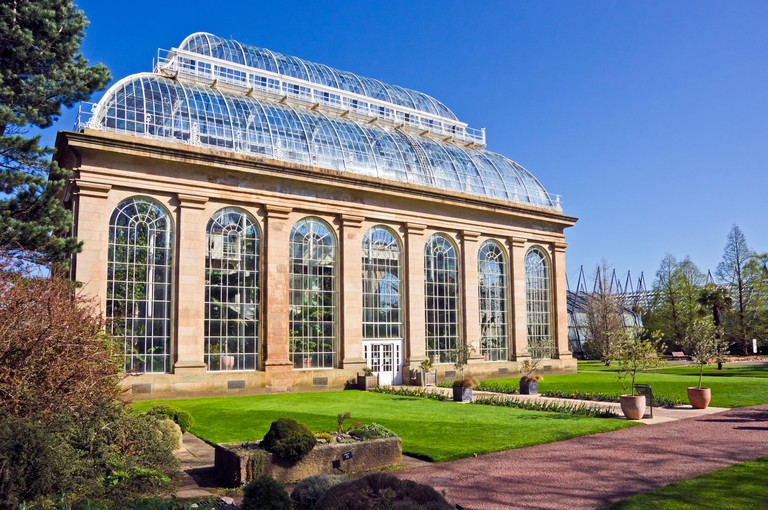 Palm House and entrance to glasshouses in The Royal Botanic Garden in Edinburgh Scotland