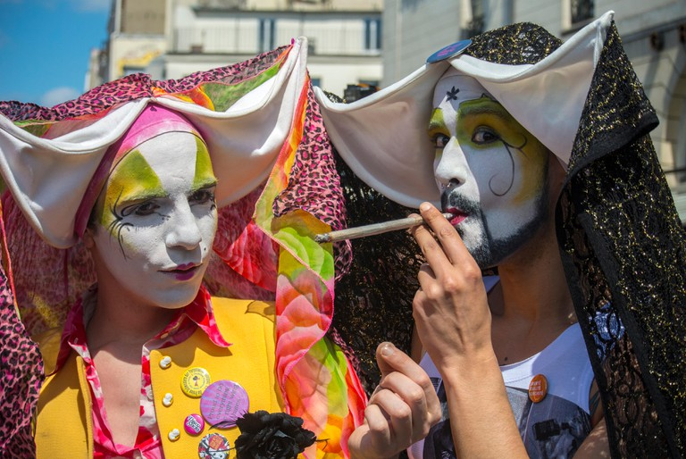 "Sisters of Perpetual Indulgence Lighting up Marijuana Cigarette at ""World Cannabis March for Marijuana Legalization"" protest, Paris"