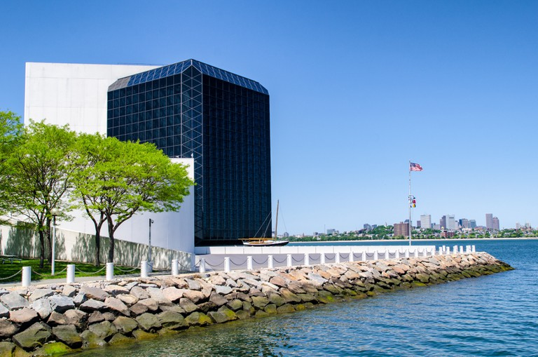 Waterfront of the the John F. Kennedy Presidential Library and Museum on the waterfront in Dorchester in Boston, Massachusetts.