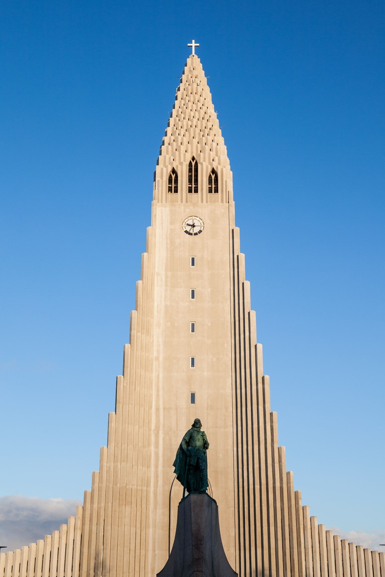 Hallgrimskirkja church on a sunny day in Reykjavik, Iceland.