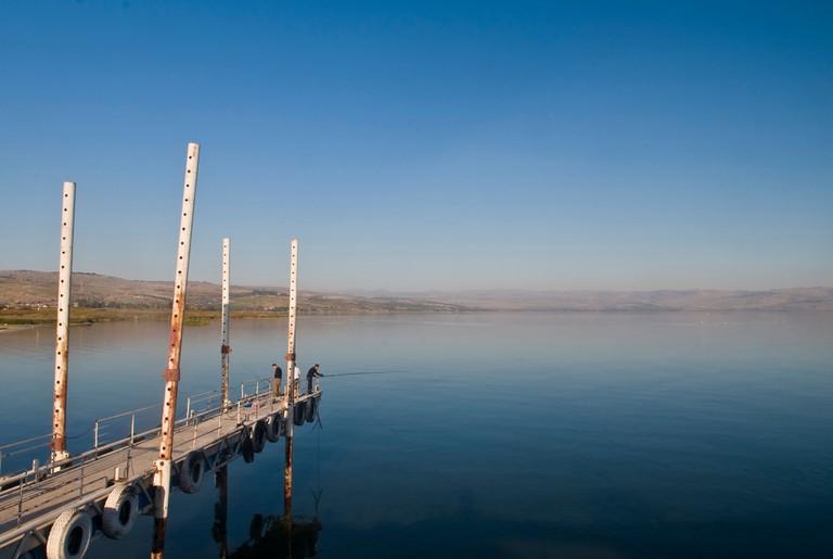 Fisherman's fishing in the Sea of Galilee