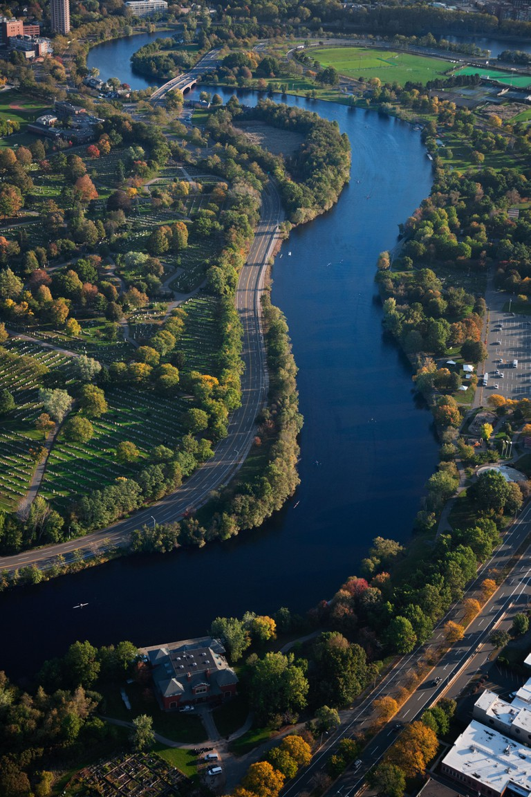 AERIAL VIEW of Charles River through Cambridge, Boston, MA