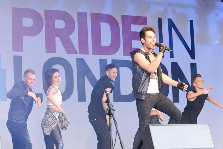 Dorian Reland, winner of Pride's Got Talent performs at Pride London