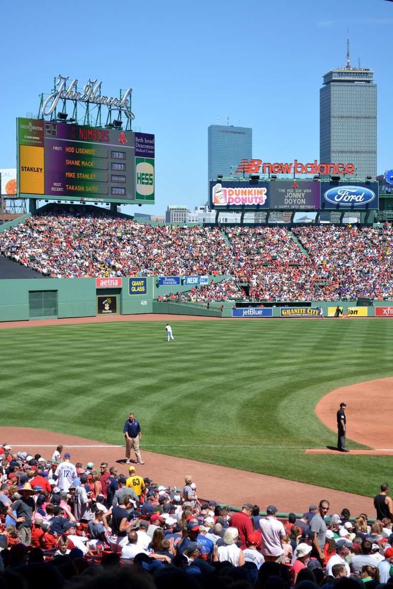 Major League Baseball game at Fenway Park in Boston.