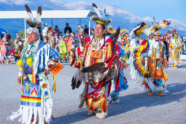 Native American men takes part at the 25th Annual Paiute Tribe Pow Wow in Las Vegas