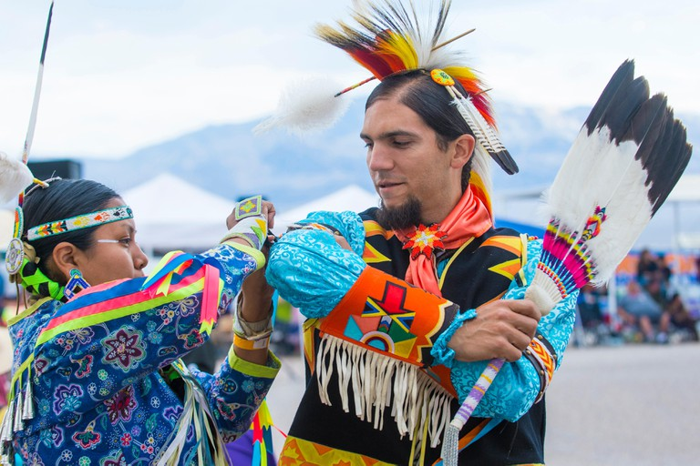 Native American man takes part at the 25th Annual Paiute Tribe Pow Wow