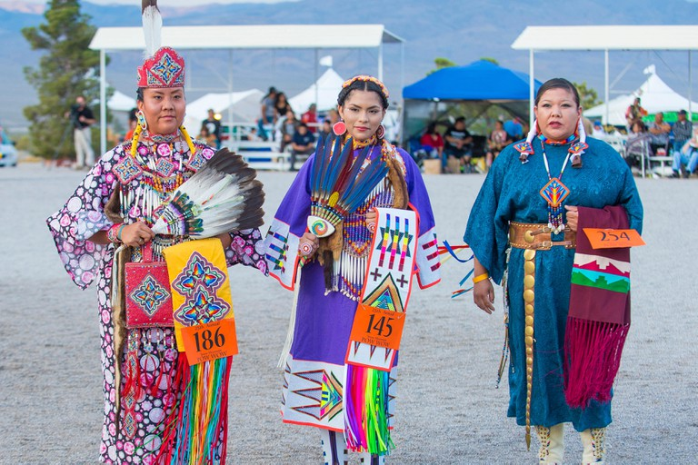 Native American women takes part at the 25th Annual Paiute Tribe Pow Wow in Las Vegas