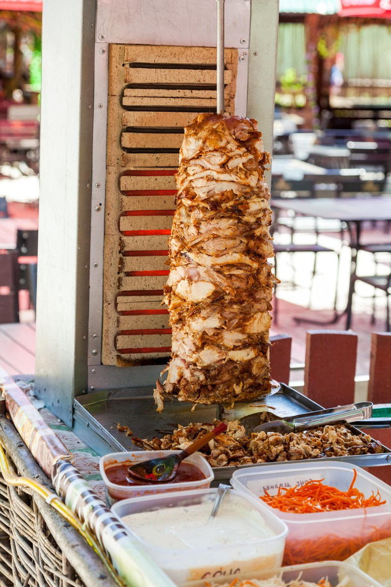 Shawarma being served at an outdoor street stall