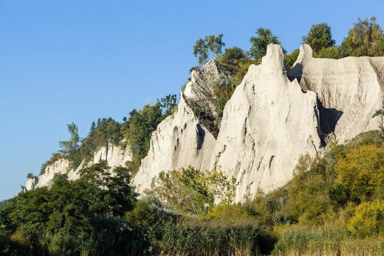 Scarborough Bluffs a 300 foot high escarpment in Bluffer's Park beside Lake Ontario in Toronto.