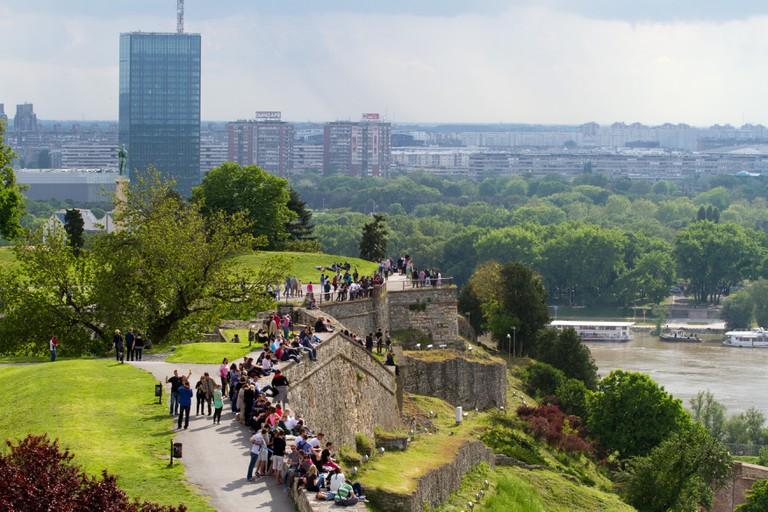 Scenic view of Sava River Novi Beograd district Belgrade Serbia