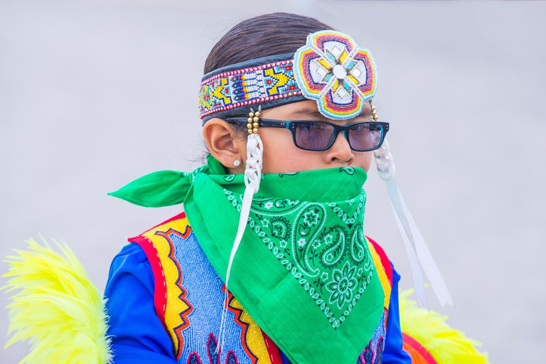 Native American boy takes part at the 26th Annual Paiute Tribe Pow Wow in Las Vegas