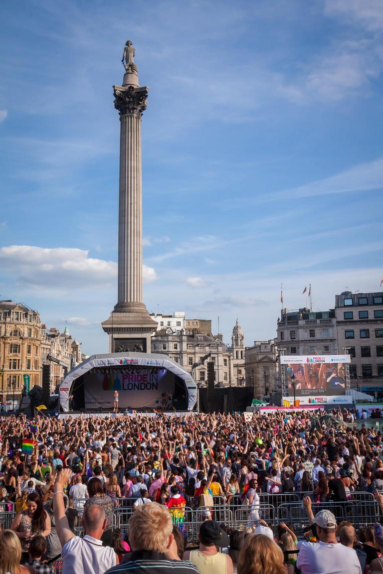 Trafalgar Square during Pride in London