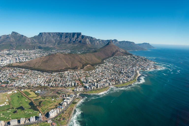 Aerial view of city, Cape Town, Republic of South Africa