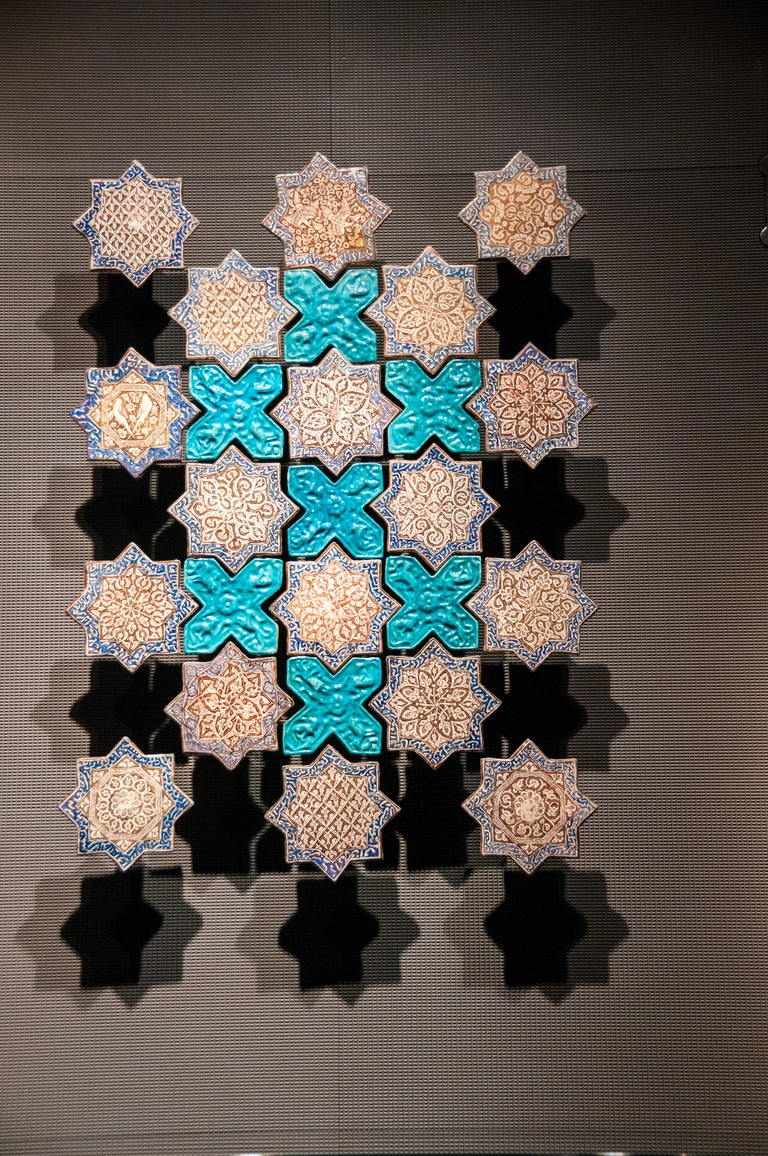 A tile panel dating from the early 14th Century Kashan, Iran. Displayed at the Museum of Islamic Art, Doha, Qatar