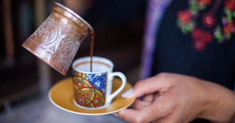 "Turkish coffee prepared served from ""cezve""."