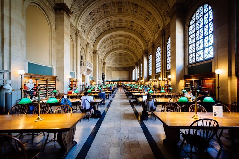 The interior of the Boston Public Library at Copley Square, in Back Bay, Boston, Massachusetts.