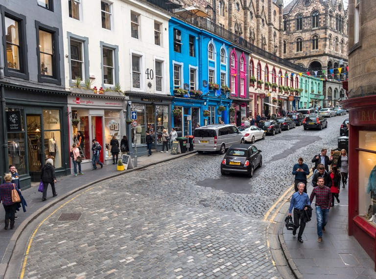 Edinburgh West Bow and Victoria Street with colorful shops in the Old Town.