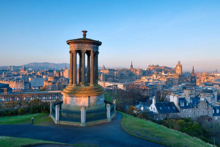 View across the city of Edinburgh from Calton Hill