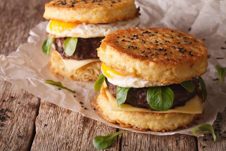 Ramen burger close-up