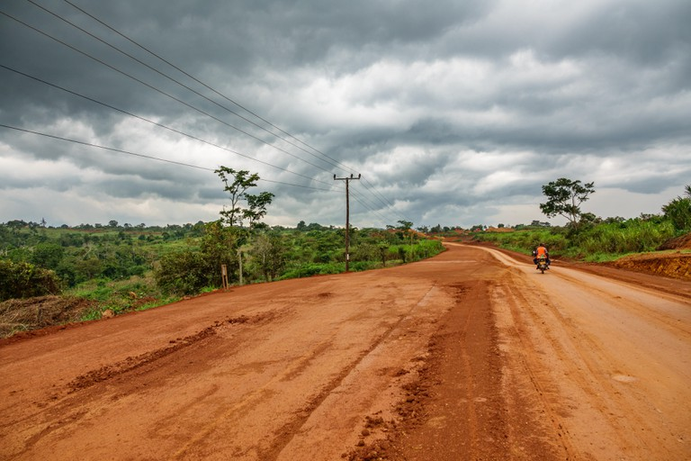 Uganda road on a cloudy day