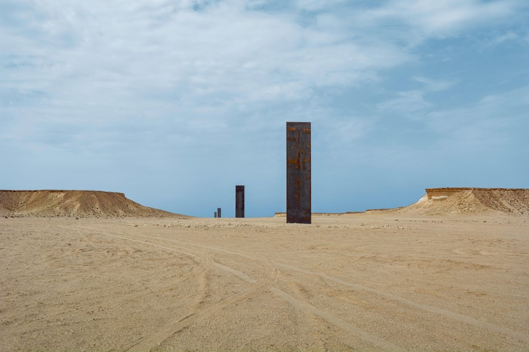 East-West West-East sculpture by artist Richard Serra near village of Zekreet, Qatar.