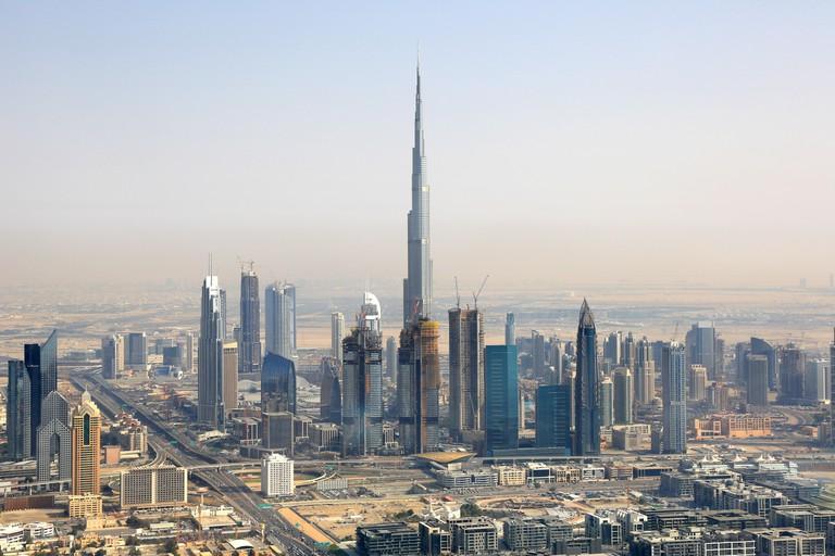 Dubai Burj Khalifa Downtown aerial view photography UAE