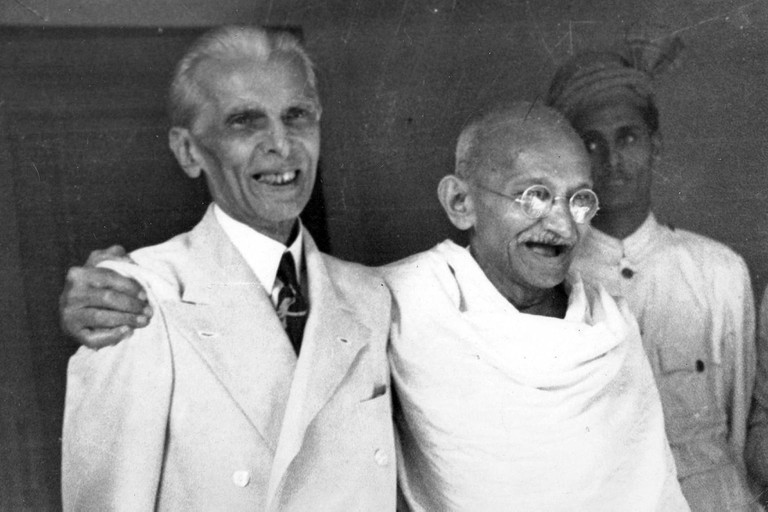 Muhammad Ali Jinnah (1876 –1948) lawyer, politician, and the founder of Pakistan. with Mahatma Gandhi in 1946.  Jinnah served as leader of the All-India Muslim League from 1913 until Pakistan's creation on 14 August 1947, and then as Pakistan's first Gov