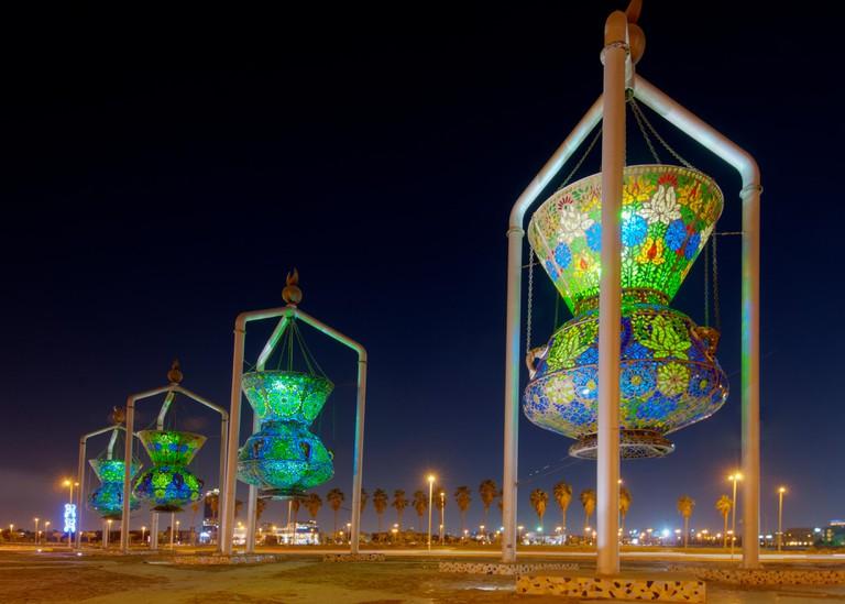 Jeddah landmark, antique lights sculpture
