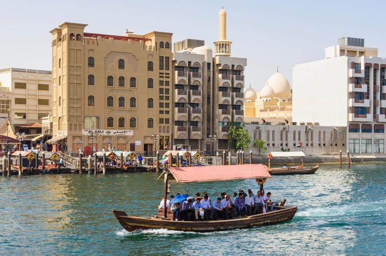 Dubai Creek abra boat with views over to Bur Dubai, Dubai Creek, Dubai, UAE