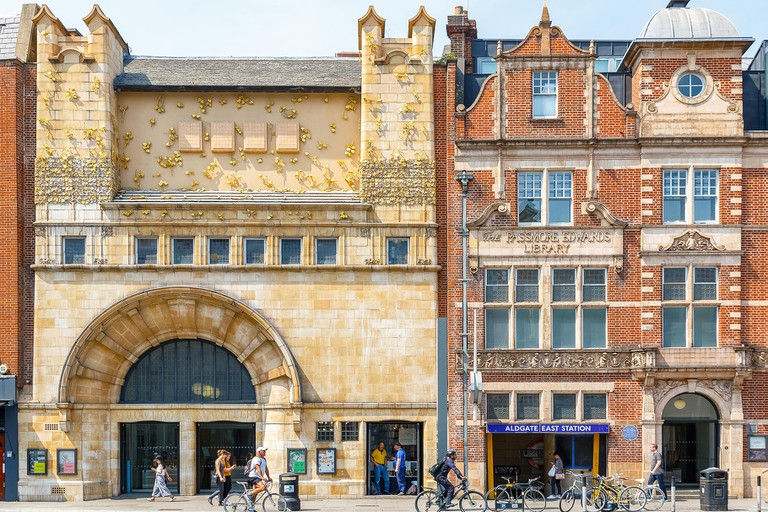 London, UK - May 04, 2018 - Facade of Whitechapel gallery and Aldgate East Station in East London