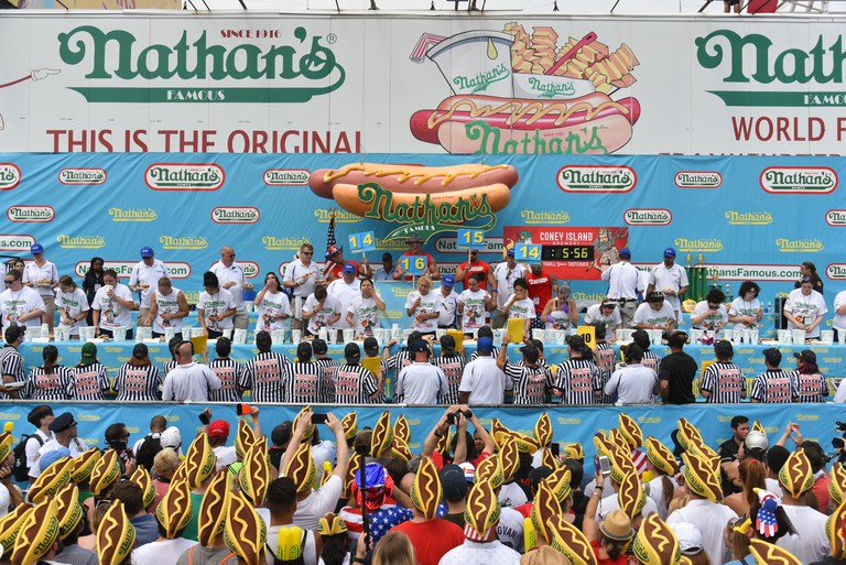 Annual Nathan's Hot Dog Eating Contest on July 4, 2018, in the Coney Island neighborhood of the Brooklyn borough of New York City.