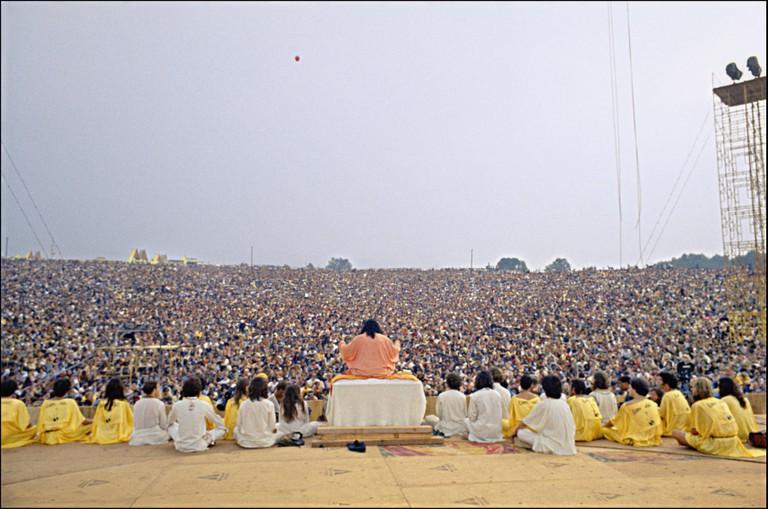 USA. Bethel, NY. 1969. Swami Satchtanada,  Woodstock Festival.